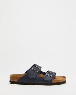 Birkenstock VEGAN   Arizona Birko Flor Regular Sandals   Unisex - Sandals (Matte Navy Saddle)