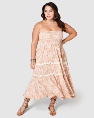 The Poetic Gypsy Daydream Believer Midi Dress - Printed Dresses (Pink)