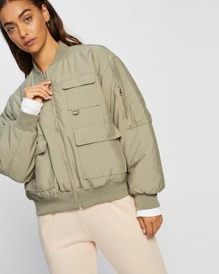 Missguided Oversized Pocket Bomber Jacket - Coats & Jackets (Olive)