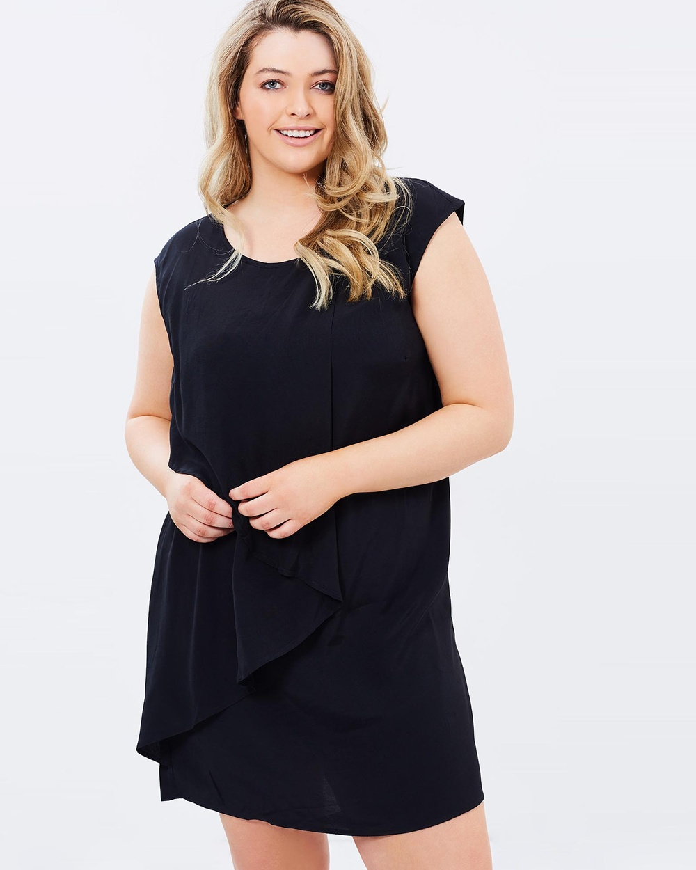 Advocado Plus Nightfall Folded Overlay Dress Dresses Black Nightfall Folded Overlay Dress