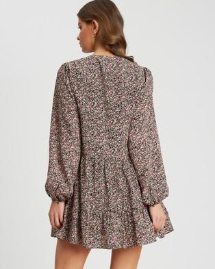 Tussah Nadia Mini Dress - Printed Dresses (Black and Red Blooms)
