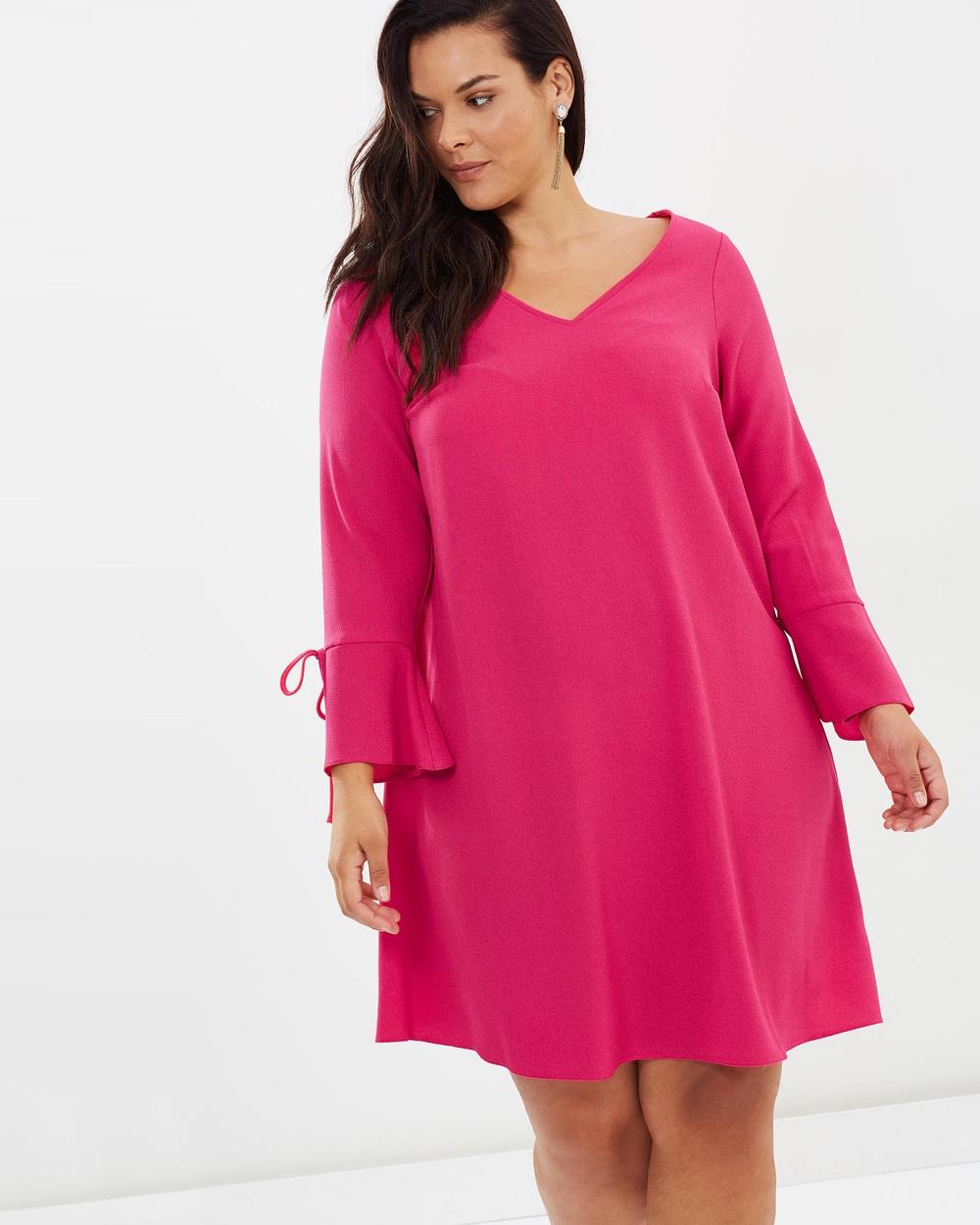 EVANS Tie Sleeve Shift Dress Dresses Pink Tie Sleeve Shift Dress