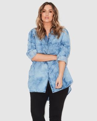 17 Sundays Marble Wash Denim Shirt - Tops (Blue)