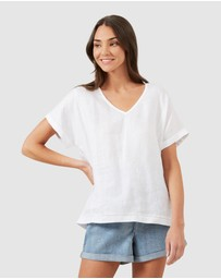 French Connection - V Neck Linen Top