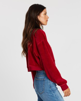 Abrand A Oversized Cropped Sweater - Sweats (Ruby Red)