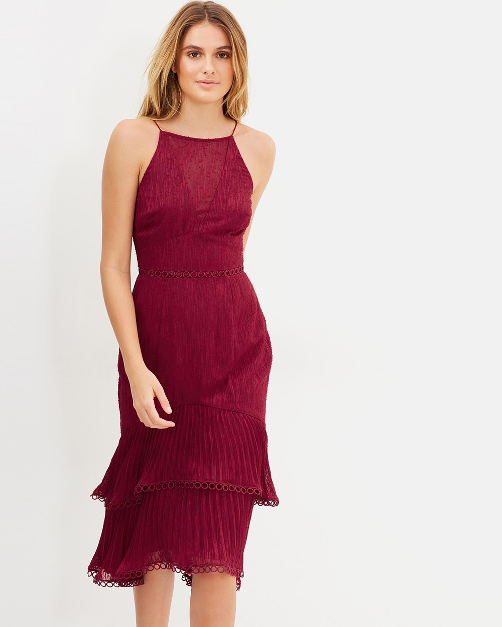Keepsake the Label Too Close Midi Dress Dresses Berry Too Close Midi Dress