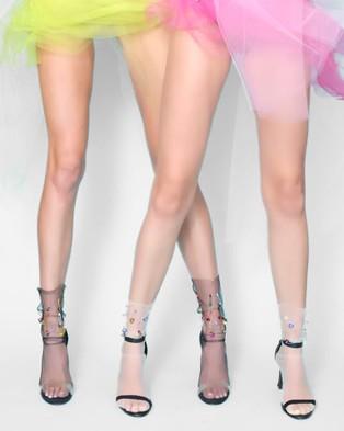 High Heel Jungle Neon Dream Sock - Underwear & Socks (Black Sheer)