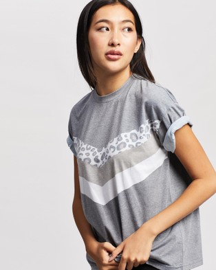 All About Eve Angled Cheetah Tee - Short Sleeve T-Shirts (Washed Black)