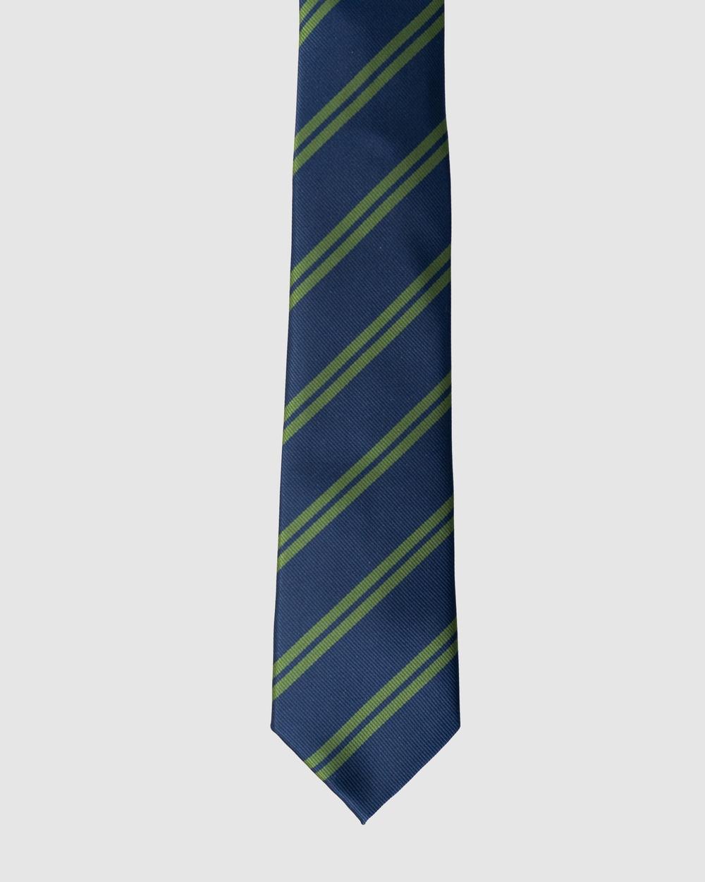 RUMI Stripe Navy & Green Necktie Ties Navy Australia