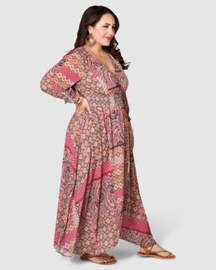The Poetic Gypsy Aphrodite Print Maxi Dress - Printed Dresses (Pink)