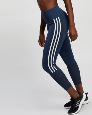 adidas Performance Believe This 2.0 3 Stripes Ribbed 7 8 Tights - 7/8 Tights (Crew Navy & White)