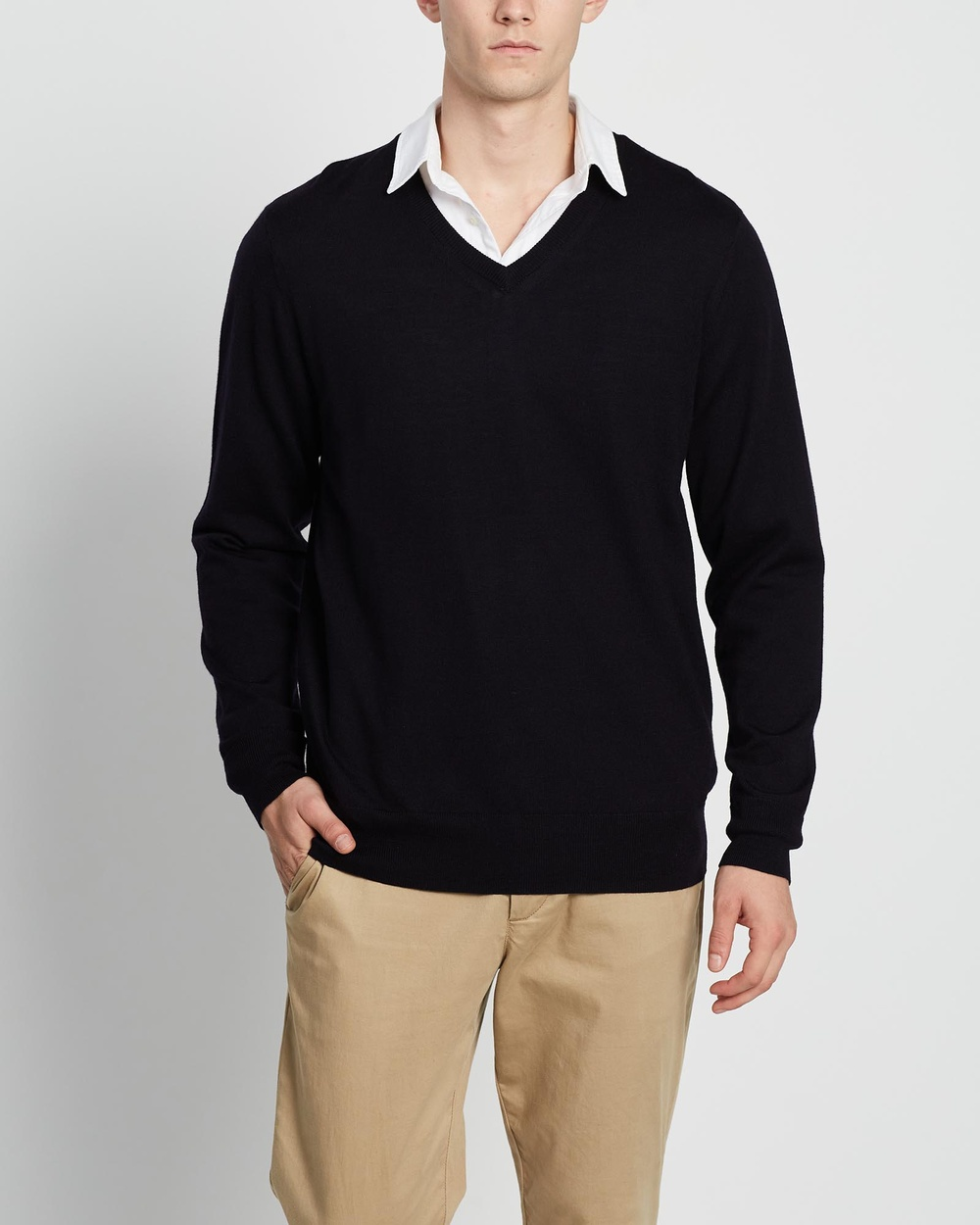 3 Wise Men The Fisher Merino Knit Jumpers & Cardigans Navy