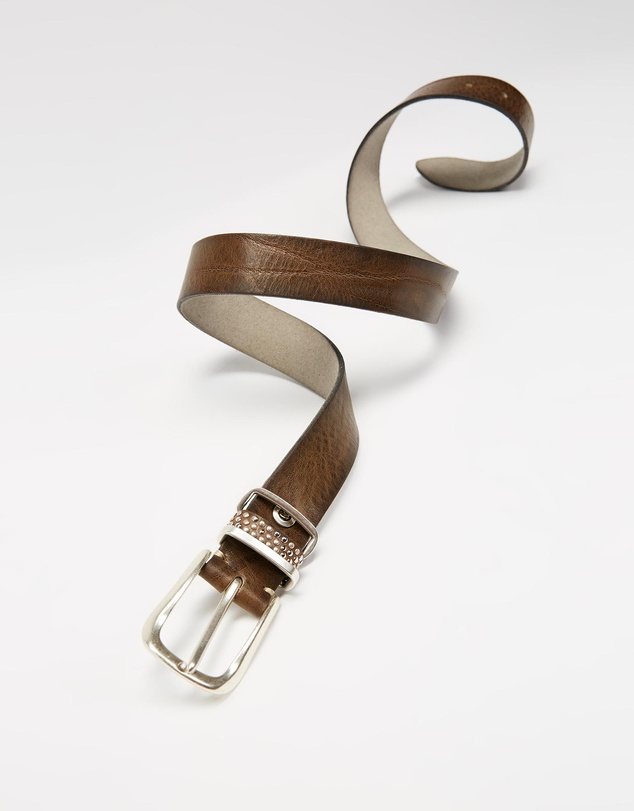 Women Leather Belt With Studded Loop