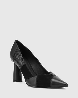 Wittner Quelle Patchwork Leather Cone Heel Pumps - All Pumps (Black)