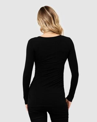 Ripe Maternity - Ali Up Down Nursing Long Sleeve Tee - Long Sleeve T-Shirts (Black) Ali Up-Down Nursing Long Sleeve Tee