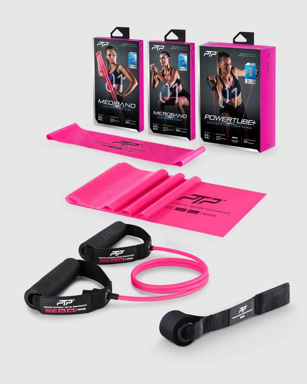 PTP Resistance Pack Level 1 MediBand + MicroBand PowerTube+ Novelty Gifts Pink