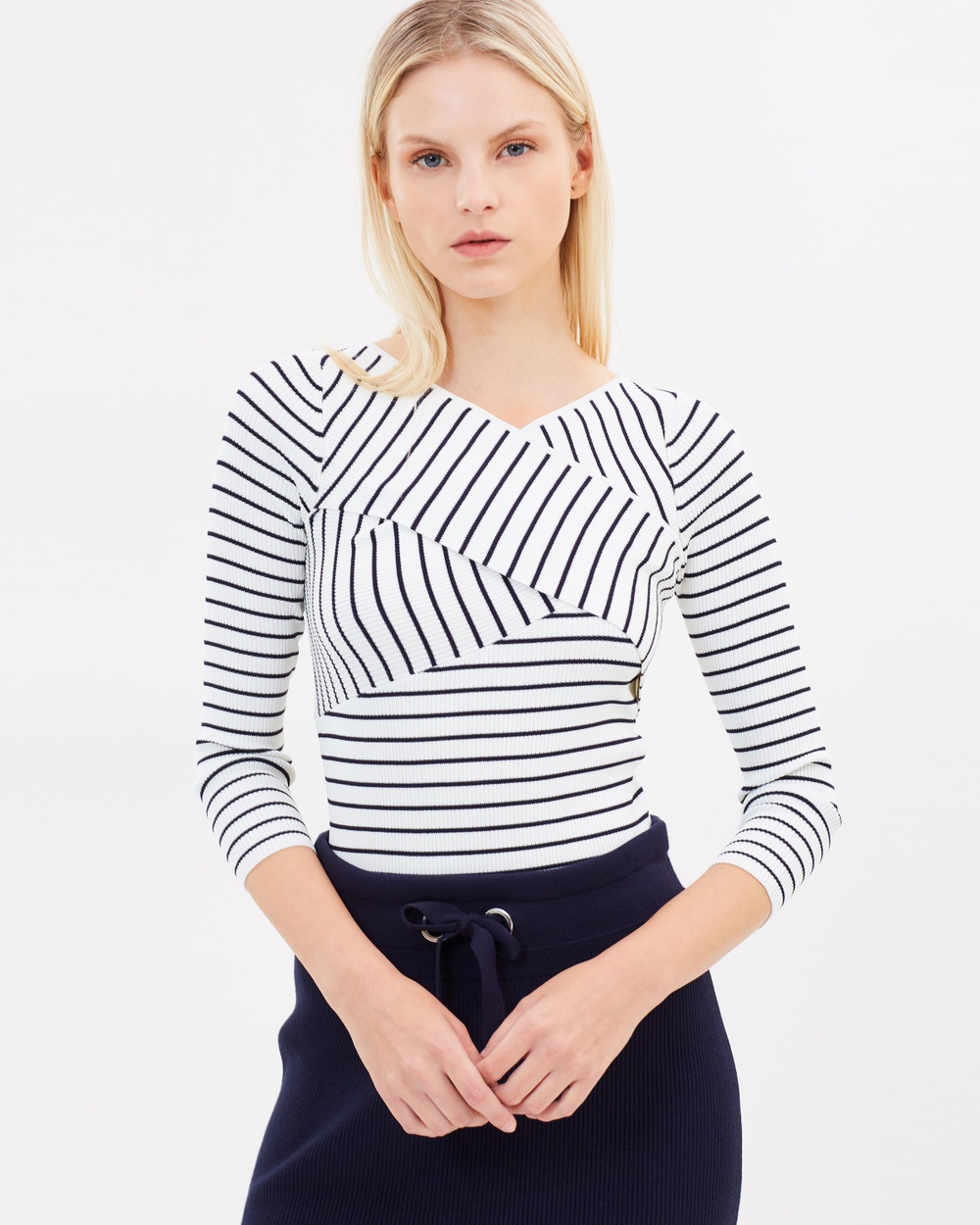 Whistles Wrap Front Stripe Knit Top Tops Multi Wrap Front Stripe Knit Top
