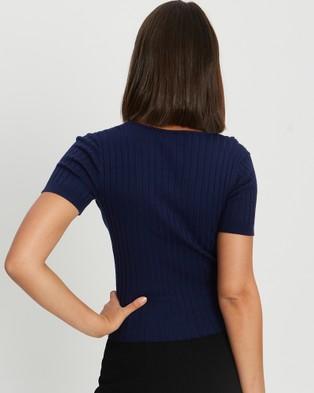 Willa Buffet Knit Top - Tops (Navy Blue)