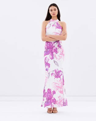 Miss Holly – Crystala Dress – Bodycon Dresses (White / Purple)