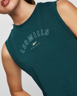 Reebok Performance Les Mills Body Combat Vector Crop Tank - Muscle Tops (Forest Green)