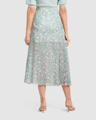 Forever New Bronte Button Front Midi Skirt - Skirts (Meadow Ditsy)