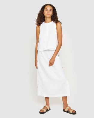 Jag Cassie Linen Shell Top - Jumpers & Cardigans (white)