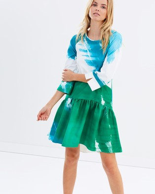 Closet London – Printed Drop Waist Gathered Hem Dress – Dresses (Multi)
