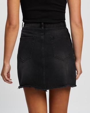 Atmos&Here Jade Recycled Cotton Blend Denim Mini Skirt - Denim skirts (Washed Black)