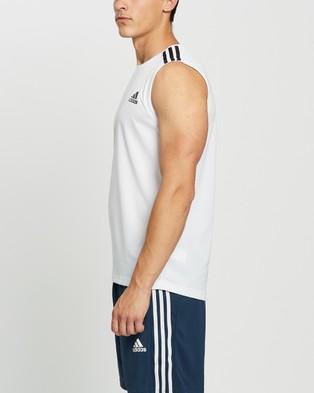 adidas Performance - AEROREADY Designed To Move 3 Stripes Sport Tank Muscle Tops (White) 3-Stripes