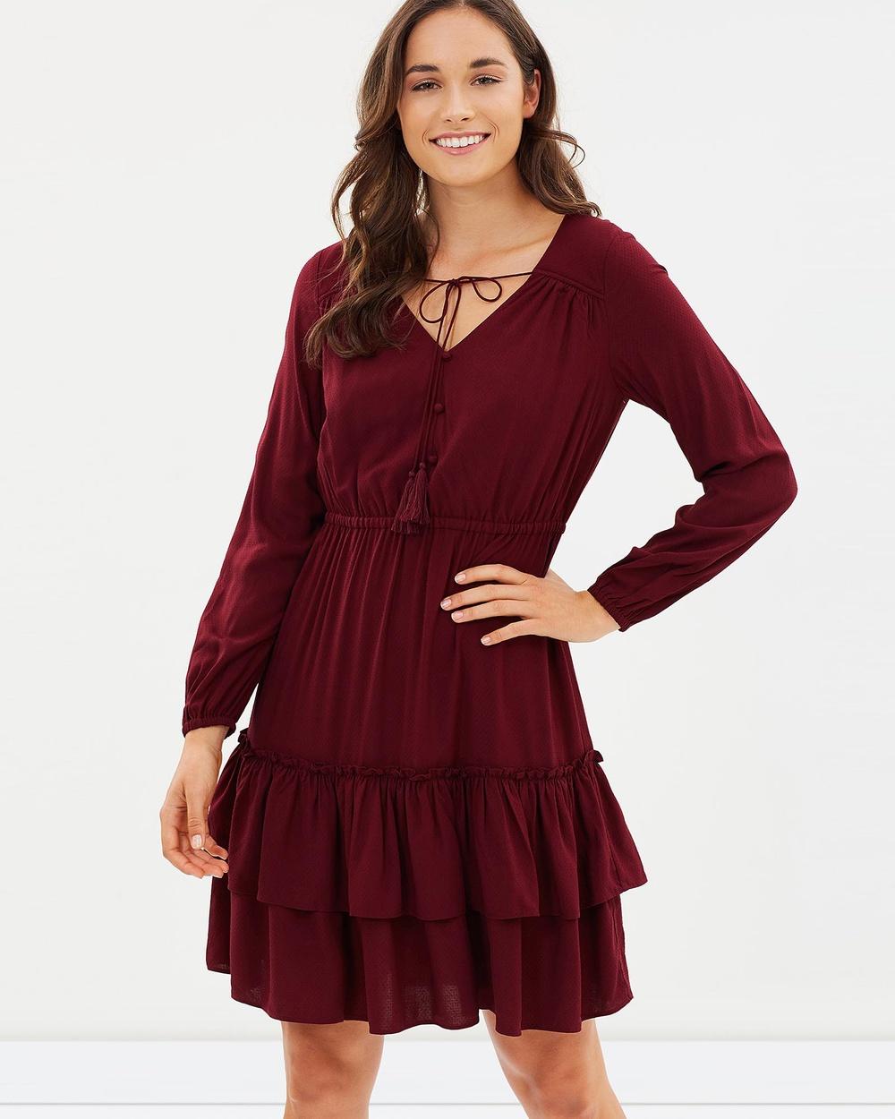 Jag Kristin Dobby Dress Dresses red Kristin Dobby Dress