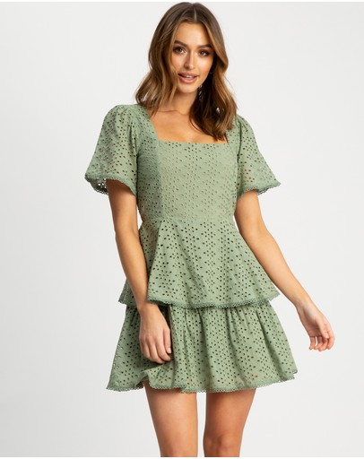 The Fated Intertwined Mini Dress Sage Green