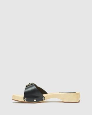 Oxford Alegra Leather Slide - Flats (Black)