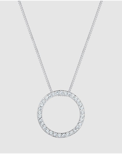 Elli Jewelry -  Necklace Circle Swarovski Crystal 925 Sterling Silver