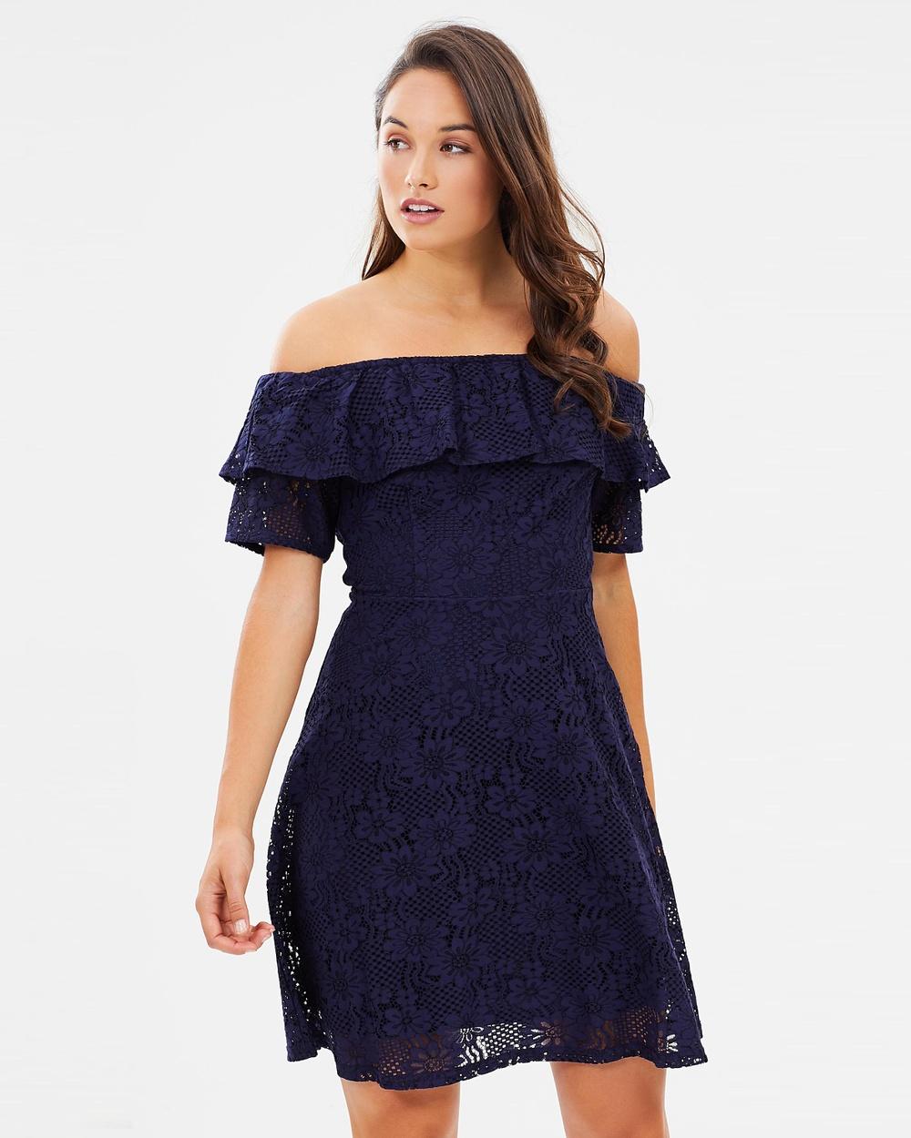 Dorothy Perkins Lace Bardot Pencil Dress Dresses Navy Blue Lace Bardot Pencil Dress
