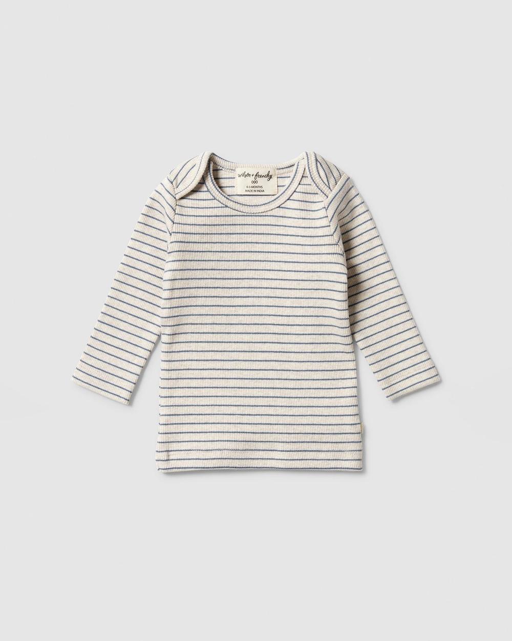 Wilson & Frenchy - Organic Stripe Rib Top   Babies - T-Shirts & Singlets (Denim Blue) Organic Stripe Rib Top - Babies
