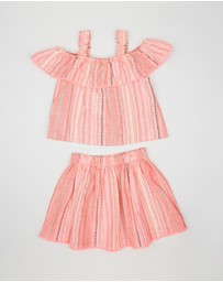 Outfit Kids - Pompom Detail Woven Top & Skirt Set - Kids