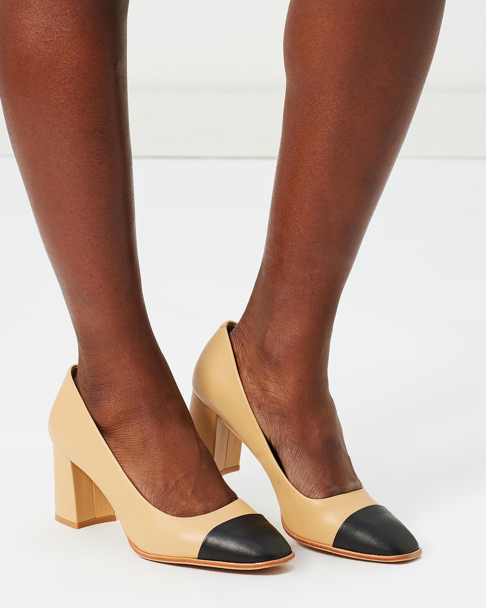 Shoes of Prey ICONIC EXCLUSIVE Vista Leather Pumps All Pumps Camel & Black ICONIC EXCLUSIVE Vista Leather Pumps