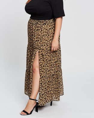 Atmos&Here Curvy Florence Split Front Skirt Skirts Neutral Animal