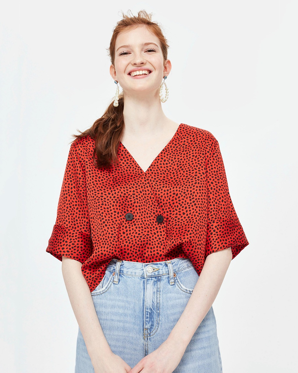 TOPSHOP Spot Animal Tie Back Blouse Tops Red Spot Animal Tie Back Blouse