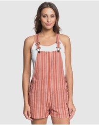 Roxy - Womens Real Life Love Striped Dungaree Shorts