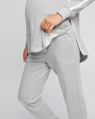 Angel Maternity Maternity And Nursing Long Tracksuit Set - T-Shirts & Singlets (Marl Grey)