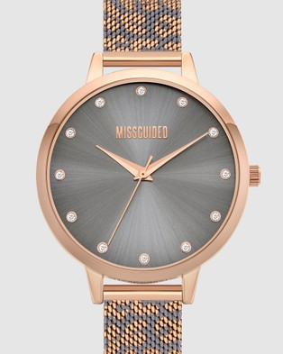 Missguided Missguided Grey Leopard Printed Mesh - Watches (Multi)