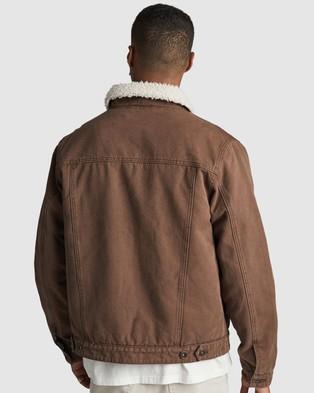 Cotton On Borg Denim Jacket - Denim jacket (Chocolate Canvas)
