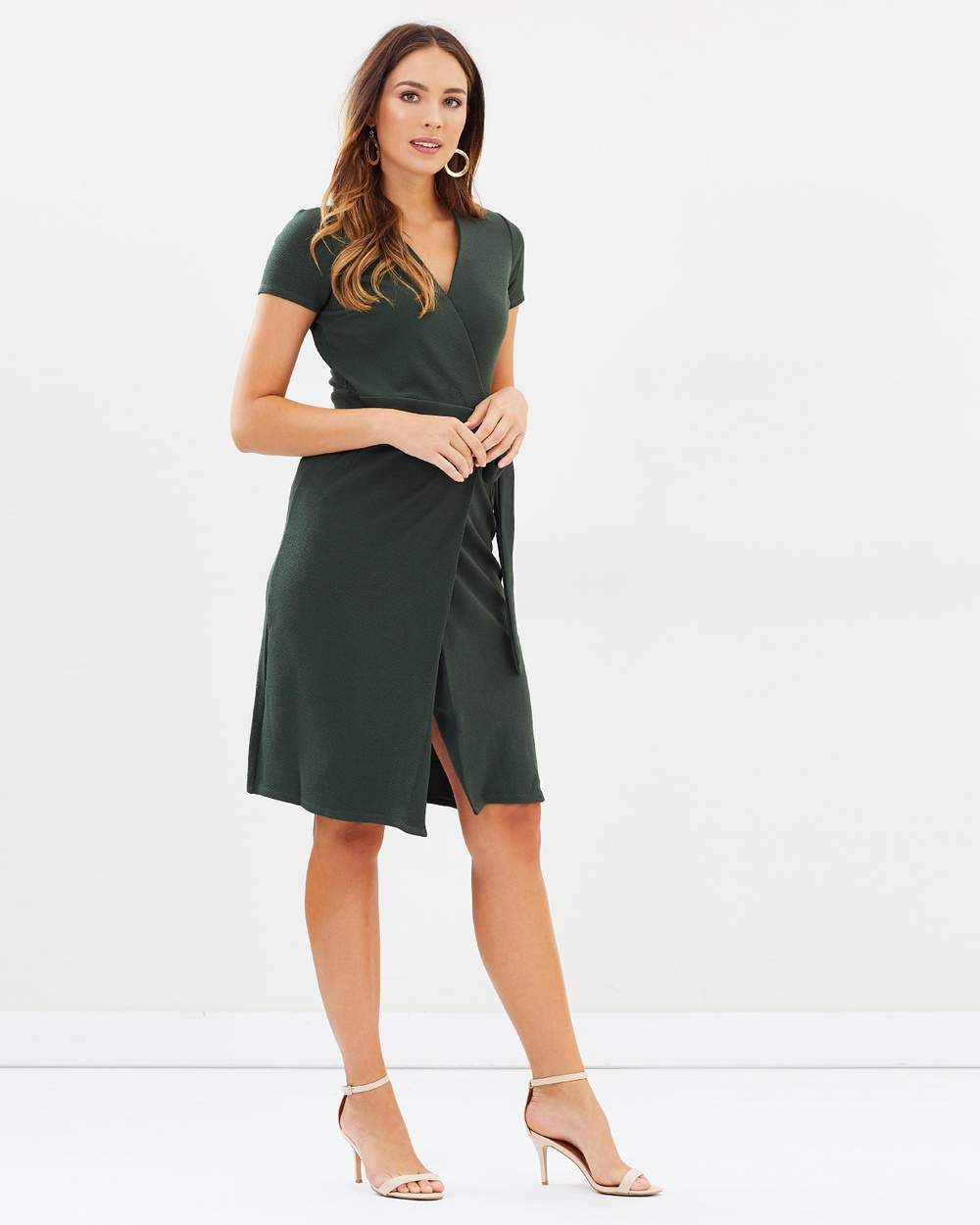 Dorothy Perkins Crepe Wrap Dress Dresses Olive Crepe Wrap Dress