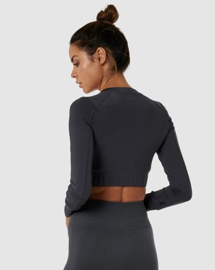 Nicky Kay Long Sleeve Compression Crop - Compression Tops (Charcoal)