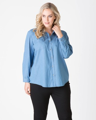 Love Your Wardrobe – Nevada Chambray Shirt – Tops (Chambray)