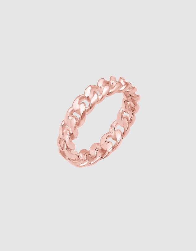 Women Ring Bandring Knot Basic in 925 Sterling Silver Rose Gold Plated