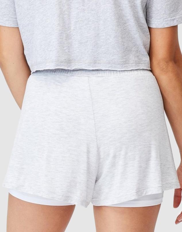 Women Double-Layer Petal Hem Shorts