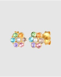 Elli Jewelry - Kids - Earrings Children Flower Pastel Pearl with Swarovski® Crystals in 925 Sterling Silver Gold Plated