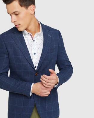 Oxford Blake Linen Blend Checked Blazer - Blazers (Blue)